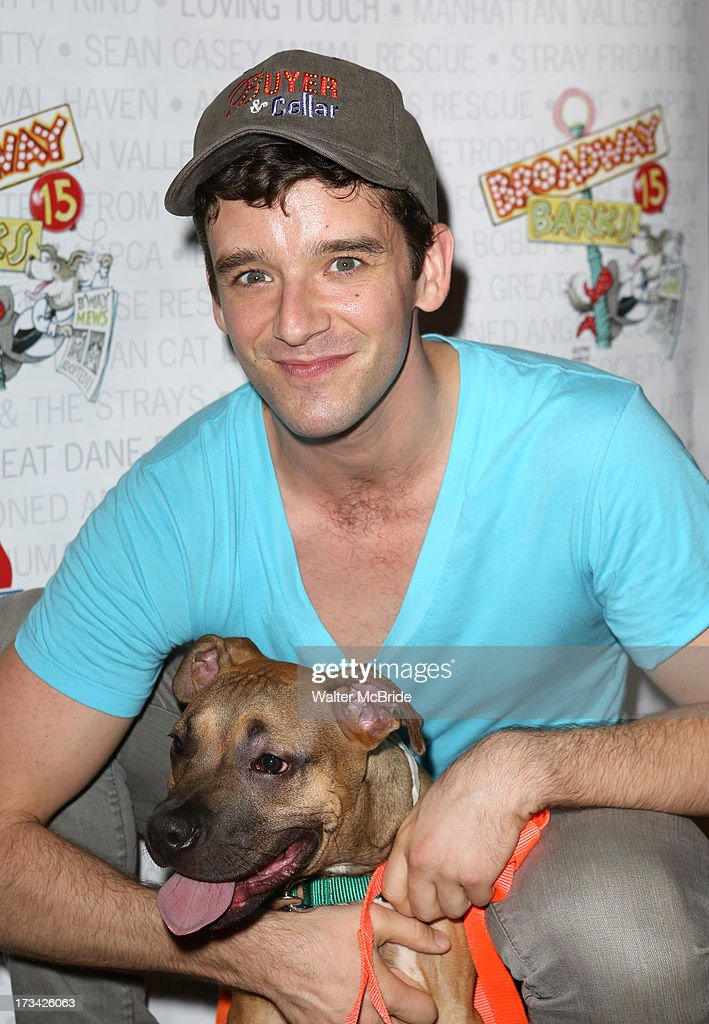 Michael Urie backstage during Broadway Barks 15 in Shubert Alley on July 13, 2013 in New York City.