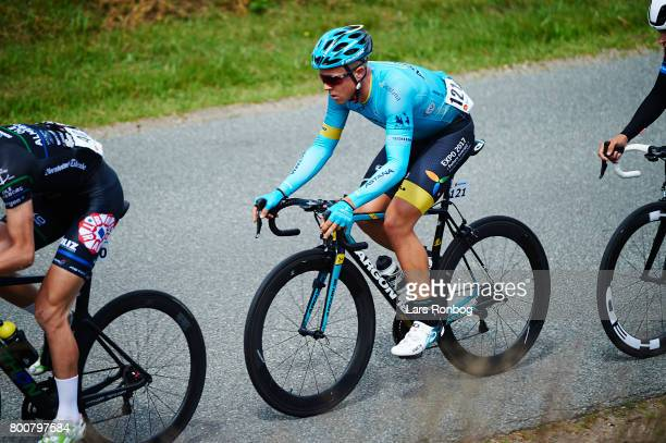 Michael Valgren Andersen of Astana Pro Cycling in action during the Elite Mens Road Race in the Danish Road Cycling Championships on June 25 2017 in...