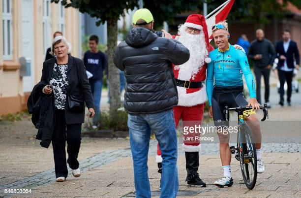Michael Valgren Andersen pose for a selfie with person dressed as Santa Claus prior to stage three of Tour of Denmark PostNord Danmark Rundt 2017...