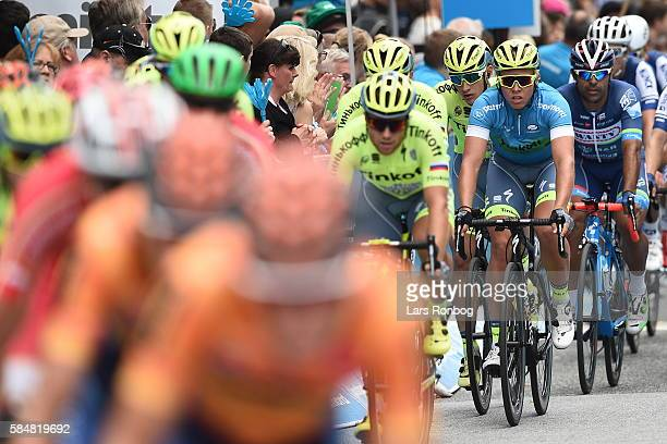 Michael Valgren of Tinkoff in the leaders blue jersey during stage five at the Postnord Danmark Rundt race between Karrebaksminde and Copenhagen on...