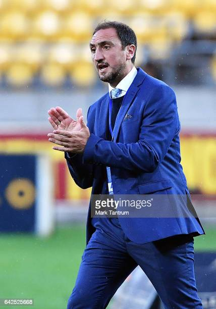 Michael Valkanis coach of Melbourne City during the round 20 ALeague match between the Wellington and Melbourne City at Westpac Stadium on February...