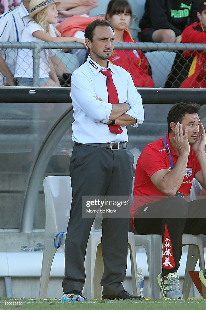 Michael Valkanis, interim coach of Adelaide, watches the round 19 A-League match between Adelaide United and the Western Sydney Wanderers at Hindmarsh Stadium on February 3, 2013 in Adelaide, Australia.