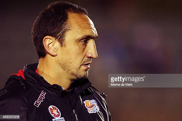 Michael Valkanis of Adelaide looks on during the FFA Cup match between Adelaide United and Wellington Phoenix at Marden Sports Complex on August 5...