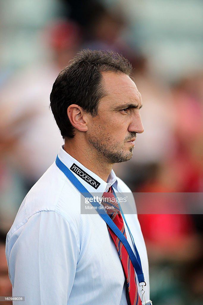 Michael Valkanis of Adelaide looks on during the round 23 A-League match between Adelaide United and the Brisbane Roar at Hindmarsh Stadium on March 2, 2013 in Adelaide, Australia.