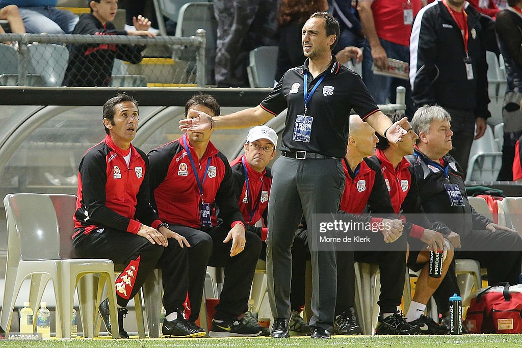 Michael Valkanis of Adelaide reacts during the round 25 A-League match between Adelaide United and the Newcastle Jets at Hindmarsh Stadium on March 15, 2013 in Adelaide, Australia.