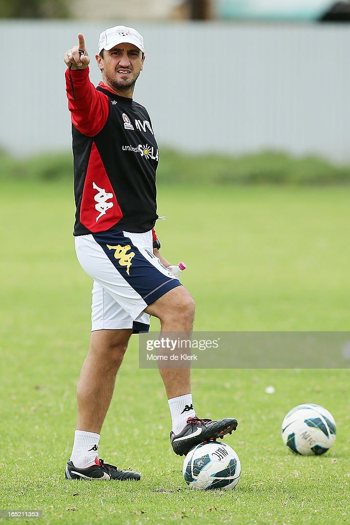 Michael Valkanis points to a player during an Adelaide United A-League training session at the South Australian Sports Institute on April 2, 2013 in Adelaide, Australia.