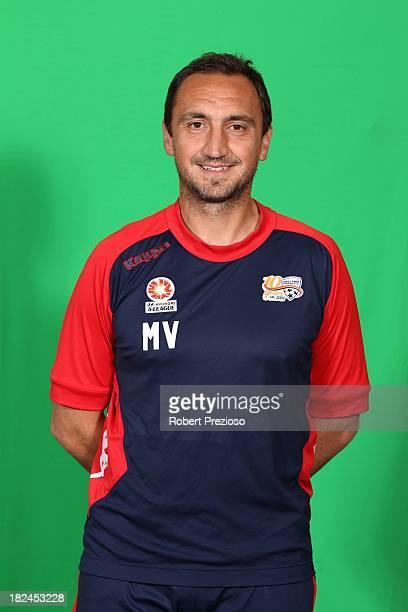 Michael Valkanis poses during the 2013/14 Adelaide United Headshots Session at Hindmarsh Stadium on September 6 2013 in Adelaide Australia