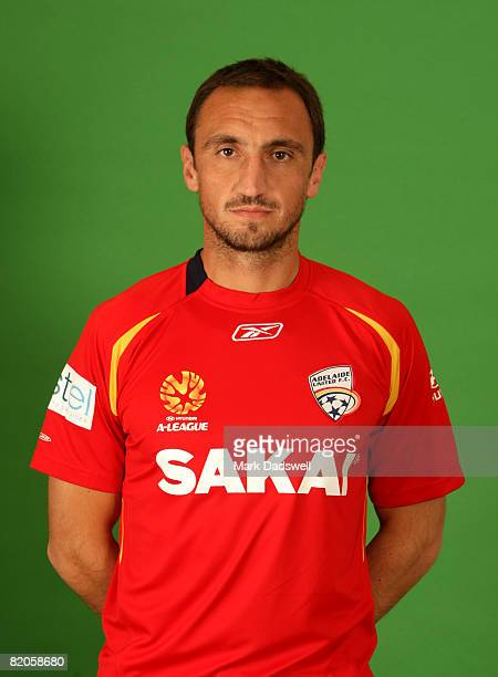 Michael Valkanis poses during the official Adelaide United 2008/2009 Hyundai ALeague portrait session at Hindmarsh Stadium on July 24 2008 in...