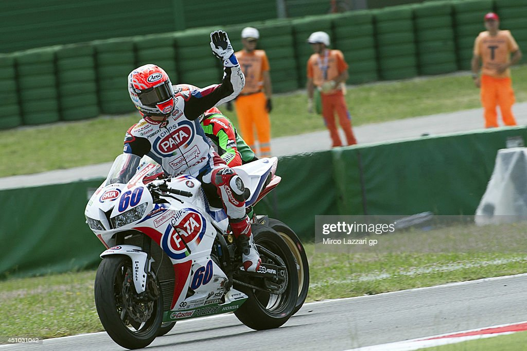 Michael Van Der Mark of Netherlands and PATA Honda World Supersport Team celebrates the second place at the end of the Supersport race during the FIM Superbike World Championship - Race at Misano World Circuit on June 22, 2014 in Misano Adriatico, Italy.