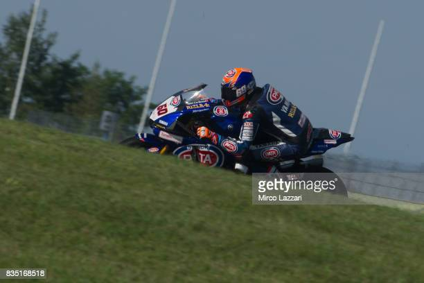 Michael Van Der Mark of Netherlands and PATA Yamaha Official WorldSBK Team rounds the bend during the FIM Superbike World Championship Qualifying at...