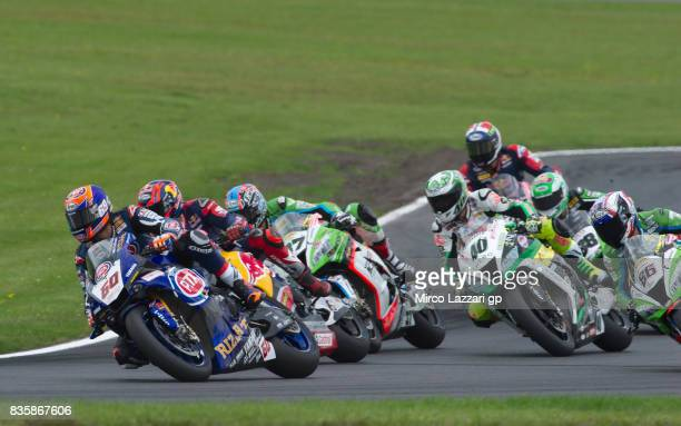 Michael Van Der Mark of Netherlands and PATA Yamaha Official WorldSBK Team leads the field during the Superbike race 2 during the FIM Superbike World...