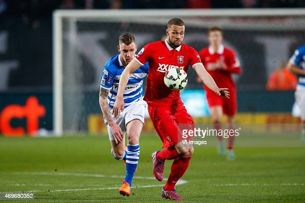 Michael van der Werff of PEC Zwolle Luc Castaignos of FC Twente during the Dutch Cup semi final match between FC Twente and Pec Zwolle at the Grolsch...