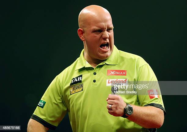 Michael Van Gerwen celebrates during the Auckland Darts Masters at The Trusts Arena on August 29 2015 in Auckland New Zealand