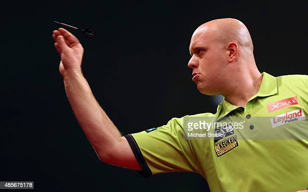 Michael Van Gerwen in action during the Auckland Darts Masters at The Trusts Arena on August 29 2015 in Auckland New Zealand