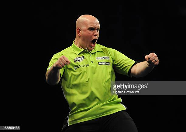 Michael Van Gerwen of Holland celebrates winning The Final against Phill Taylor of England during the McCoy's Premier League Darts PlayOffs at The O2...