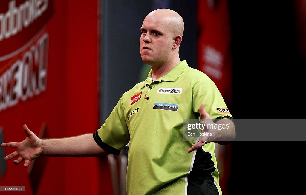 Michael van Gerwen of the Netherlands reacts during the final of the 2013 Ladbrokes.com World Darts Championship at the Alexandra Palace on January 1, 2013 in London, England.