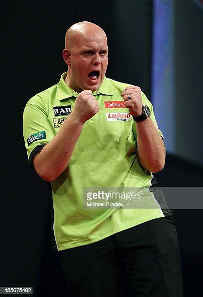 Michael van Gerwen reacts during the Auckland Darts Masters at The Trusts Arena on August 29 2015 in Auckland New Zealand