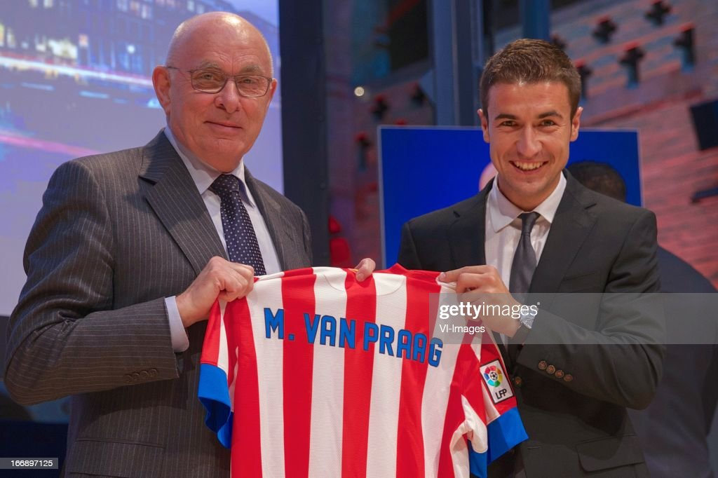 Michael van Praag, Gabi of Atletico Mardrid during the UEFA Europa League trophy handover ceremony on April 18, 2013 at Amsterdam, The Netherlands.