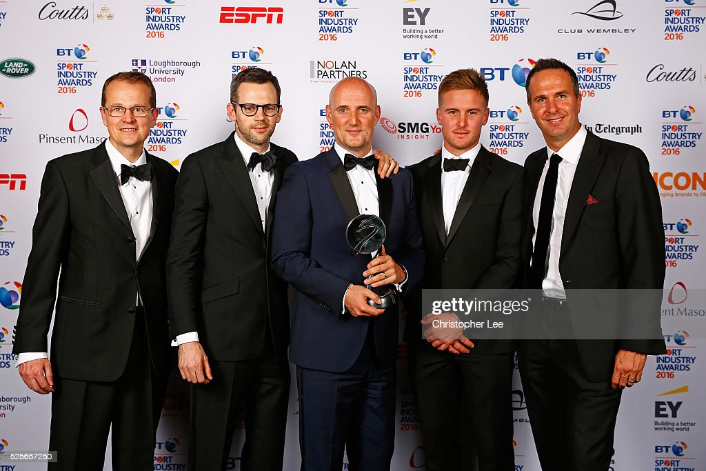 Michael Vaughan and Jason Roy present Agency of the Year to M&C Saatchi Sport & Entertainment at the BT Sport Industry Awards 2016 at Battersea Evolution on April 28, 2016 in London, England. The BT Sport Industry Awards is the most prestigious commercial sports awards ceremony in Europe, where over 1750 of the industry's key decision-makers mix with high profile sporting celebrities for the most important networking occasion in the sport business calendar.