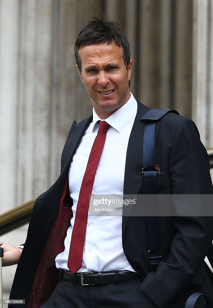 Michael Vaughan attends a memorial service to journalist and former president of the MCC Christopher MartinJenkins MBE at St Paul's Cathedral on...