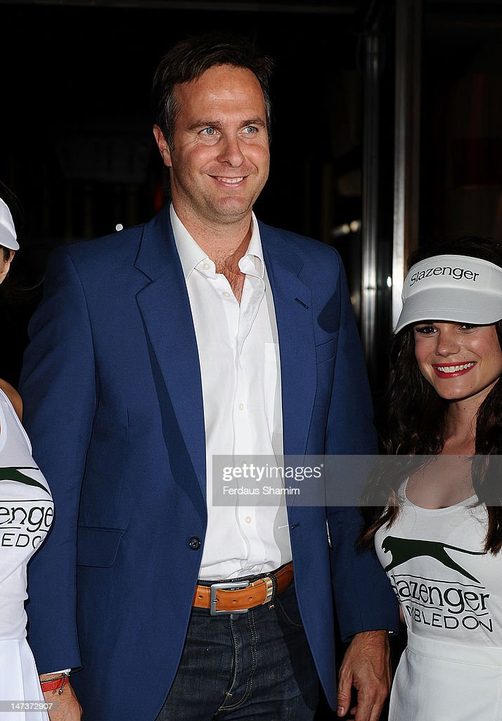 <a gi-track='captionPersonalityLinkClicked' href=/galleries/search?phrase=Michael+Vaughan&family=editorial&specificpeople=179446 ng-click='$event.stopPropagation()'>Michael Vaughan</a> attends Slazenger's pre-Wimbledon party at Aqua on June 28, 2012 in London, England.