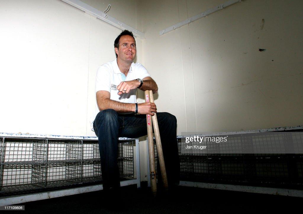 Michael Vaughan Club Captain of Natwest Cricket Club poses during the NatWest Cricket Club Media Launch at Streatham Malborough Cricket Club on June...