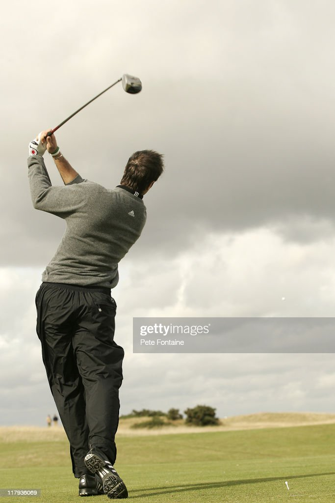 Michael Vaughan during practice day on the St Andrews Old Course during practice day of the 2005 Dunhill Links Championship September 28 2005