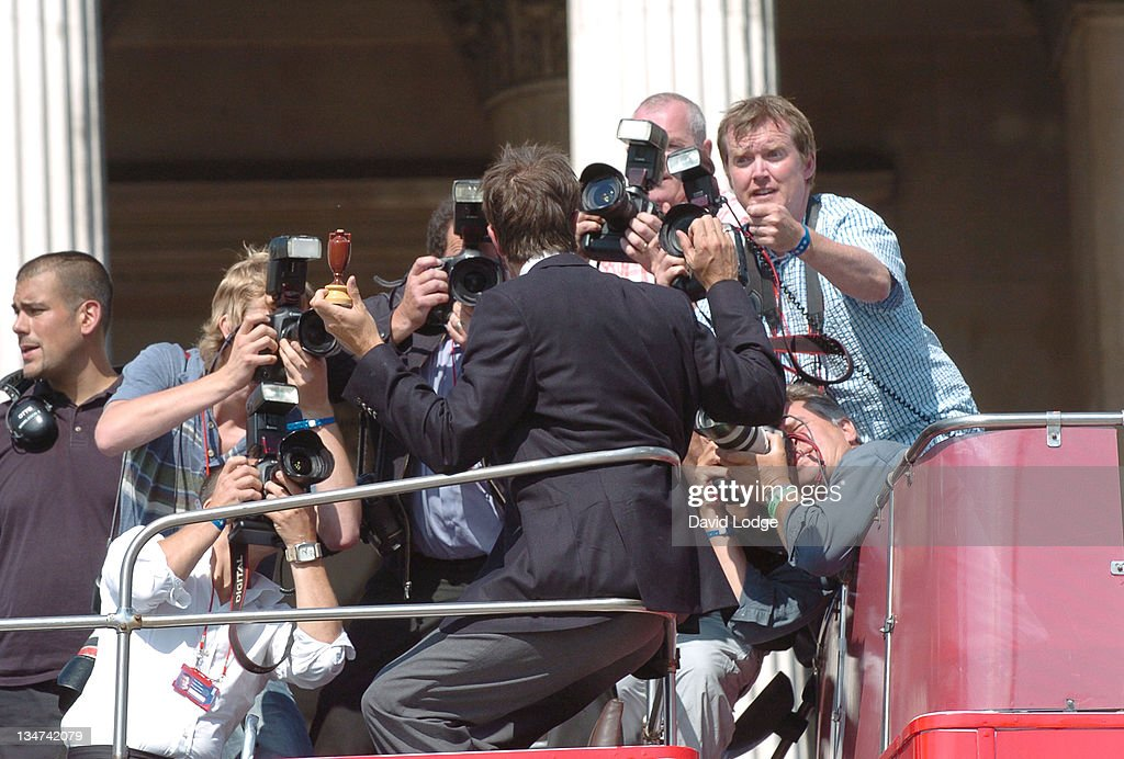 Michael Vaughan during The England Cricket Team's Ashes Winning Celebrations Trafalgar Square Party at Trafalgar Square in London Great Britain
