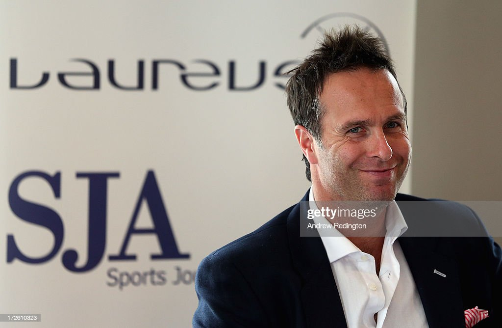 Michael Vaughan former England cricket captain talks to the assembled media as he attends an SJA Brunch sponsored by Laureus on July 4 2013 in London...