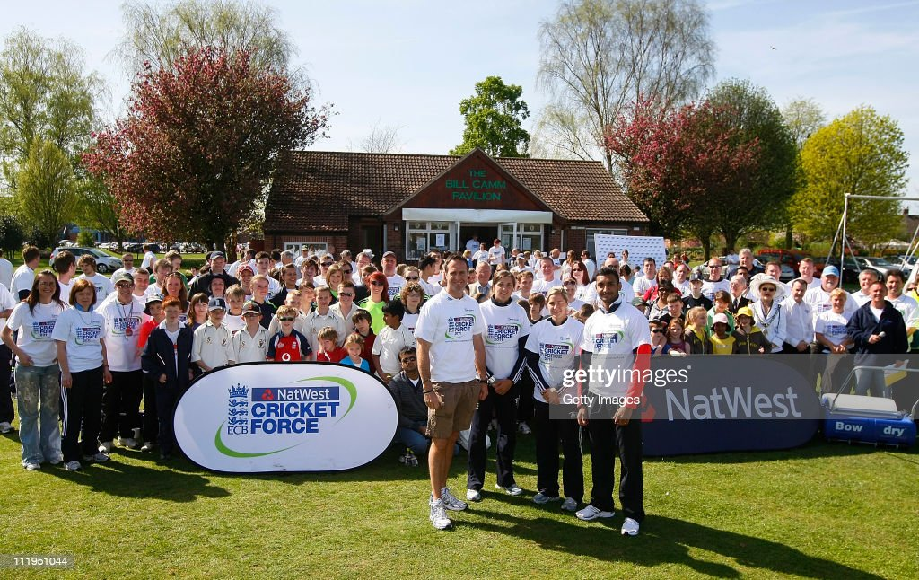 Michael Vaughan Jenny Gunn Katherine Brunt and Ajmal Shahzad pose for photographs during the NatWest Cricket Force at Sawley Long Eaton Park Cricket...