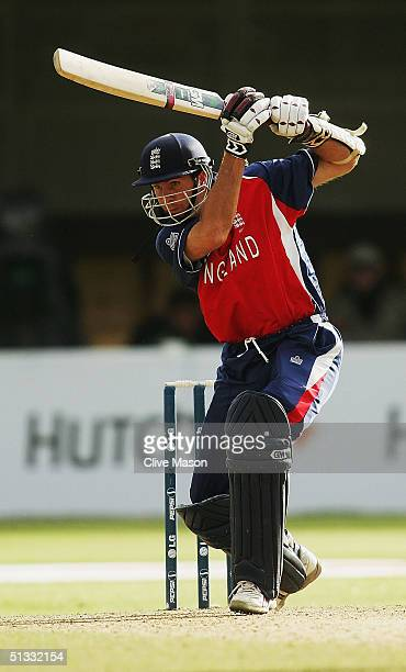 Michael Vaughan of England in action with the bat during the ICC Champions Trophy semi final match between England and Australia at the Edgbaston...