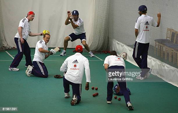 Michael Vaughan of England in the indoor nets ahead of the 2nd Test Match at Headingley on July 17 2008 in Leeds England