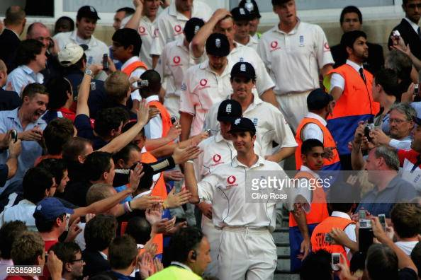 Michael Vaughan of England leads his winning team down to the pitch after winning the Ashes on day five of the fifth npower Ashes Test match between...