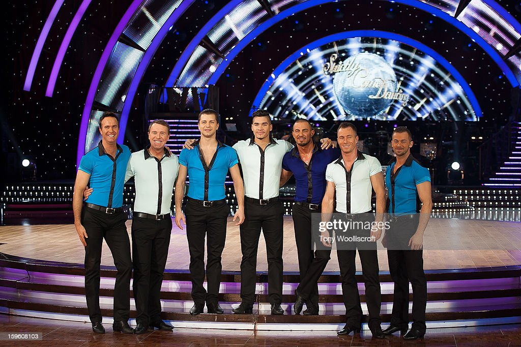 MIchael Vaughan, Phil Tufnell, Pasha Kovalev, Louis Smith, Robin Windsor and James Jordan and Artem Chigvintsev attends a photocall ahead of the Strictly Come Dancing Live Tour at NIA Arena on January 17, 2013 in Birmingham, England.