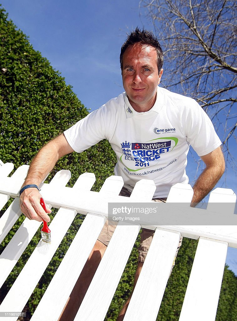Michael Vaughan poses for photographs during the NatWest Cricket Force at Sawley Long Eaton Park Cricket Club on April 10 2011 in Long Eaton England