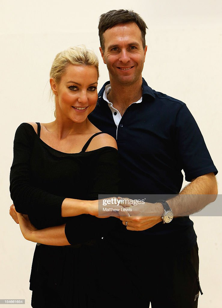 Michael Vaughan rehearses his 'Strictly Come Dancing' routine with partner Natalie Lowe in front of the England Under 17's cricket squad at National...