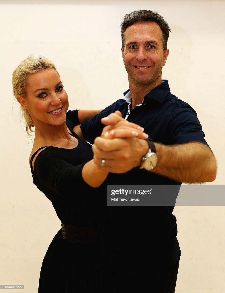 <a gi-track='captionPersonalityLinkClicked' href=/galleries/search?phrase=Michael+Vaughan&family=editorial&specificpeople=179446 ng-click='$event.stopPropagation()'>Michael Vaughan</a> rehearses his 'Strictly Come Dancing' routine with partner Natalie Lowe in front of the England Under 17's cricket squad at National Cricket Centre on October 24, 2012 in Loughborough, England.