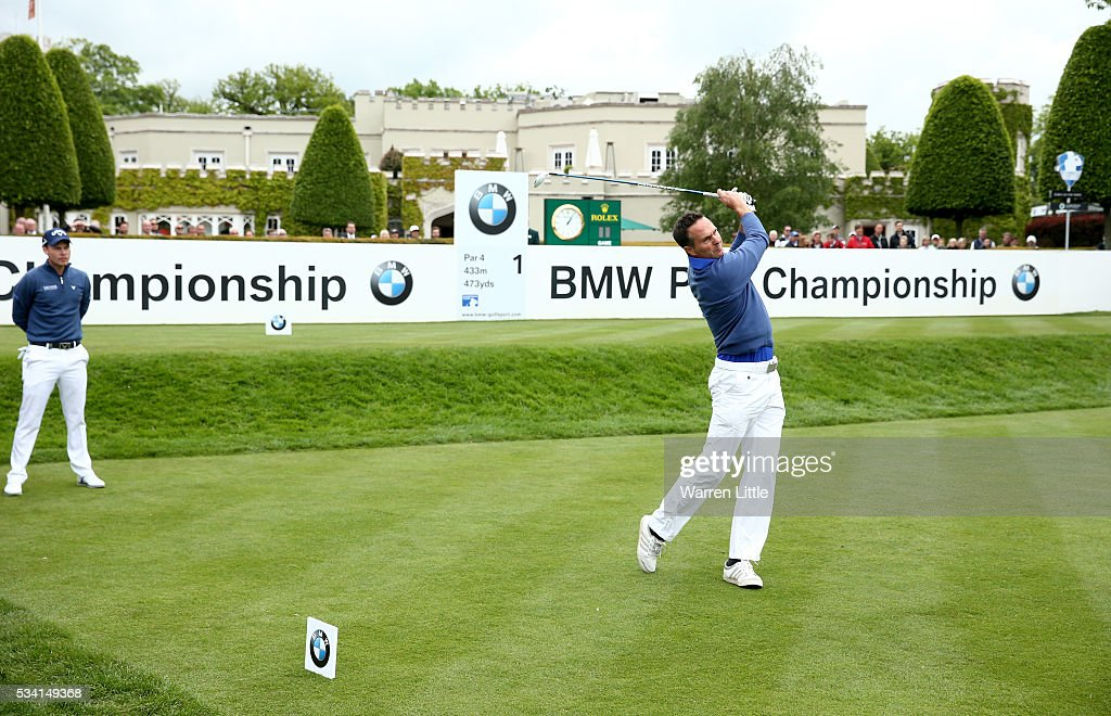 Michael Vaughan tees off during the Pro-Am prior to the BMW PGA Championship at Wentworth on May 25, 2016 in Virginia Water, England.