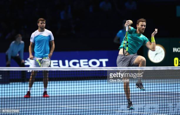 Michael Venus of New Zealand and Ryan Harrison of the United States in action in the Doubles match against JeanJulien Rojer of Netherlands and Horia...