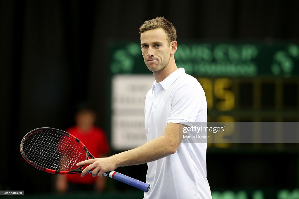 Michael Venus of New Zealand in action in his match against Chieh-Fu Wang of Chinese Taipaei during day one of the Davis Cup tie between New Zealand and Chinese Taipaei on October 24, 2014 at Wilding Park in Christchurch, New Zealand.