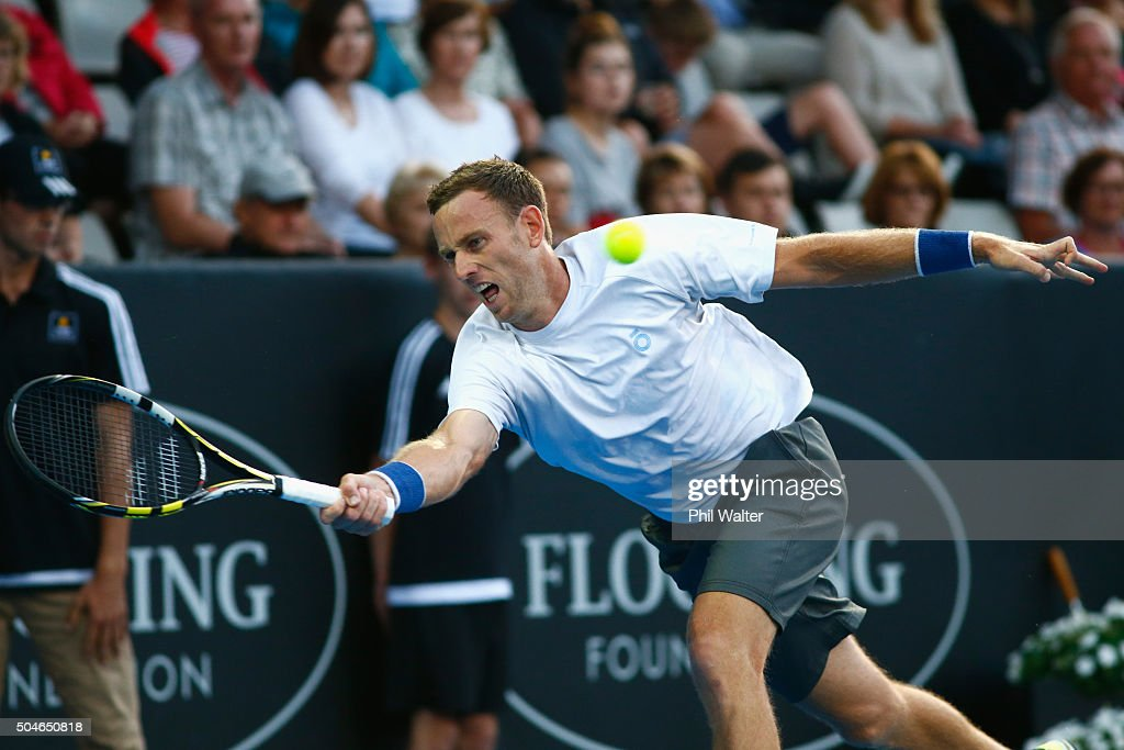 Michael Venus of New Zealand plays a forehand against Benoit Paire of France on Day 8 of the ASB Classic on January 12, 2016 in Auckland, New Zealand.