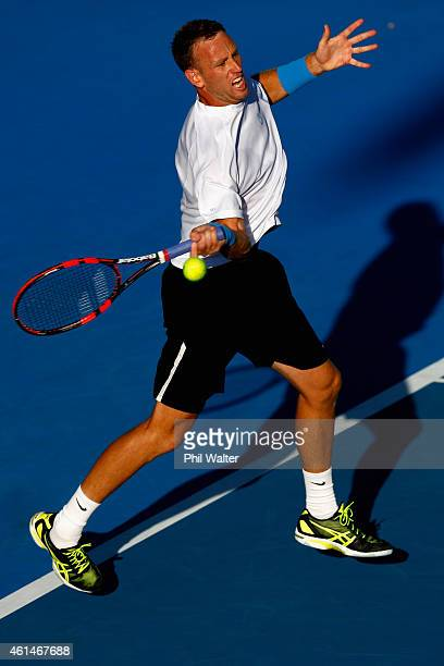 Michael Venus of New Zealand plays a forehand in his singles match against Alejandro Gonzalez of Colombia during day two of the 2015 Heineken Open...