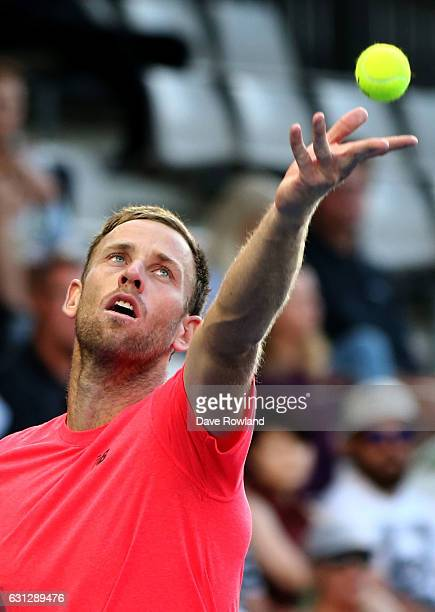 Michael Venus of New Zealand plays Feliciano Lopez of Spain on day eight of the ASB Classic on January 9 2017 in Auckland New Zealand
