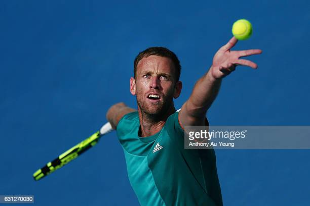 Michael Venus of New Zealand practises ahead of his first round match against Feliciano Lopez of Spain on day eight of the ASB Classic on January 9...