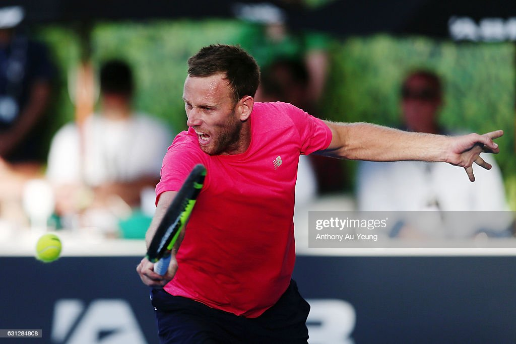 Michael Venus of New Zealand reaches for a backhand in his match against Feliciano Lopez of Spain on day eight of the ASB Classic on January 9, 2017 in Auckland, New Zealand.