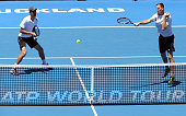 Michael Venus of New Zealand returns the shot watch on by Mate Pavic of Croatia to Scott Lipsky Eric Butorac of the US during their men's doubles...