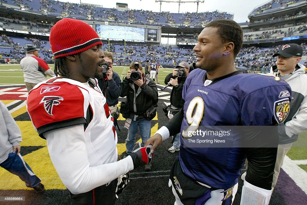 Michael Vick of the Atlanta Falcons and Steve McNair of the Baltimore Ravens congratulate each other after a game on November 19 2006 at the MT Bank...