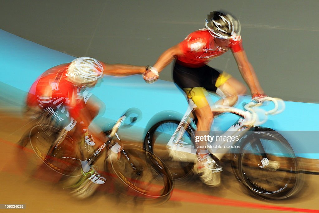 Michael Vigerling and Geert-Jan jonkman of Netherlands compete during the Rotterdam 6 Day Cycling at Ahoy Rotterdam on January 6, 2013 in Rotterdam, Netherlands.