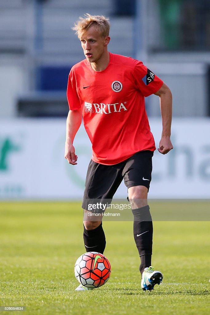 Michael Vitzthum of Wiesbaden controls the ball during the Third League match between Wehen Wiesbaden and Preussen Muenster at BRITA-Arena on April 29, 2016 in Wiesbaden, Hesse.