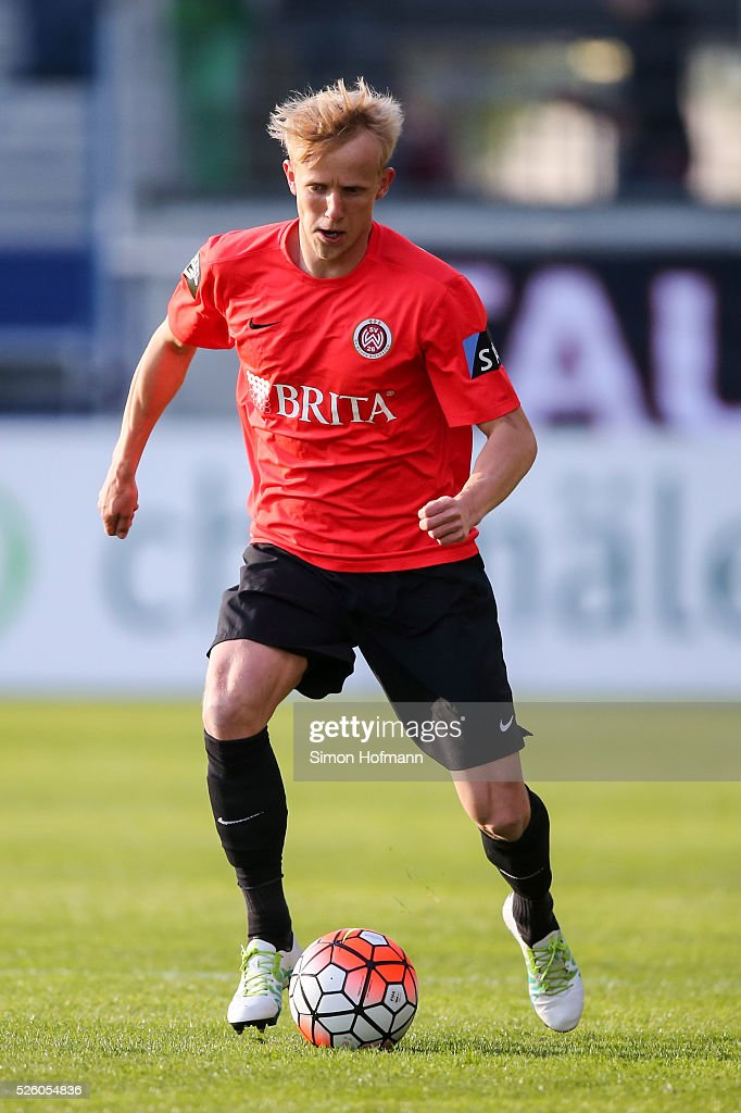 Michael Vitzthum of Wiesbaden controls the ball during the Third League match between Wehen Wiesbaden and Preussen Muenster at BRITA-Arena on April 29, 2016 in Wiesbaden, Hesse.